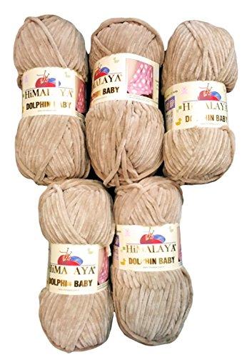 Ilkadim 5 x 100 Gramm Himalaya Dolphin Strickwolle, Babywolle, 500 Gramm Wolle Super Bulky (hell beige 80317)