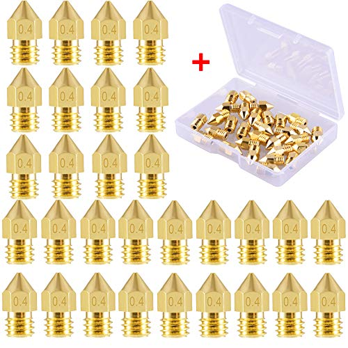 SIQUK 30 Pieces MK8 Nozzle 0.4mm 3D Printer Nozzles Extruder Print Head for 3D Printer Makerbot Creality CR-10(Bonus: 1Pc Plastic Box)