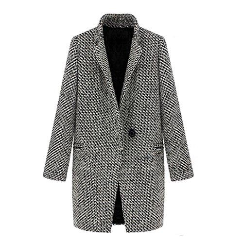 Nonbrand, cappotto lungo invernale, da donna, in lana, stile vintage Black-and-White 38