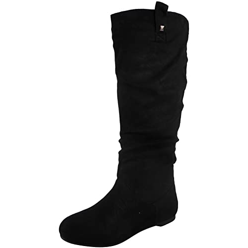 c6a319654 WOMENS PIXIE MID CALF ROUCHED FLAT PULL ON KNEE LONG LADIES SLOUCH BOOTS  SIZE 3-