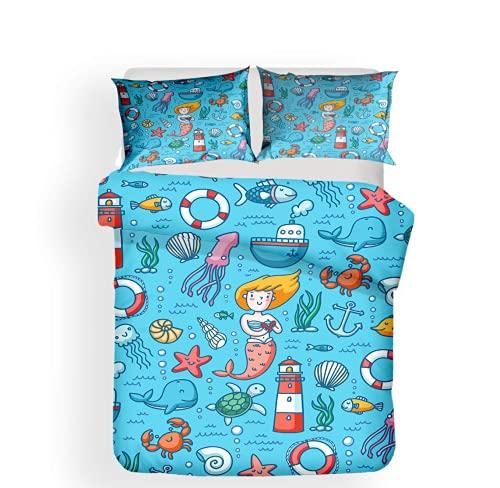 Keketu Funda nórdica y Funda de Almohada 3D Modelo Lindo Microfibra 1/2 Persona Juego de Cama Juego de Cama Familiar Dormitorio habitación de los niños,B,135x200cm