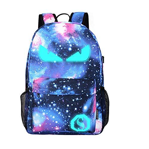 Dracarys Anime Galaxy Mochila Luminosa - Mochila Escolar con Puerto de Carga USB - Daypack Ambulante Bolso de Escuela de Hombro Bolsa para portátil para niños y niñas