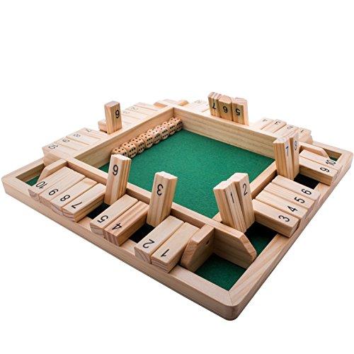 GrowUpSmart Shut the Box Würfelspiel (2-4 Spieler) für clevere Kinder & Erwachsene [4-seitiges großes Holz-Brettspiel, 8 Würfel & Shut the Box-Regeln] Spiel zum Erlernen von Nummern & Strategie