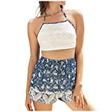 TUDUZ Shorts und Top Sets Damen Sommer Strand Zweiteiler Schulterfrei Sunflower Printed Beachwear Chiffon Boho Ärmellos Crop Tops (Y4-Mehrfarbig2, S)