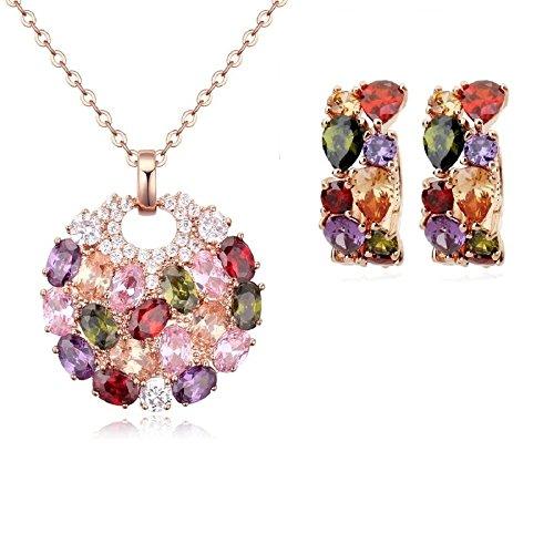 Set di gioielli in cristalli Swarovski e con 18carati placcato oro,ciondolo con pietre colorate, collana e orecchini
