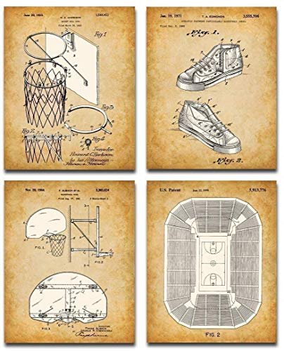 Original Basketball Patent Art Prints - Set of Four Photos (8x10) Unframed - Makes a Great Gift Under $20 for Basketball Players or Room Decor