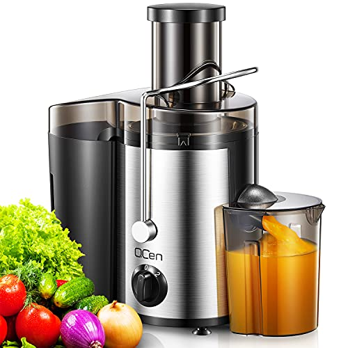 """Juicer Machine, Centrifugal Juicer for Whole Fruit and Vegetable, 76MM/3"""" Feed Chute, Dual Speed Mode Juice Extractor, Stainless Steel, Easy Clean, BPA-Free, 500W, by QCen"""