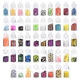 HQdeal 48 botellas Lentejuelas Holográficas de Uñas, Decoración de Uñas, Purpurinas Polvo, Estrellas Corazón Lentejuelas Glitter Flakes Paillette Brillante Decoración para Manicura y Diseños de Uñas