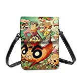 AOOEDM Crayon Shin Cool Lightweight Leather Phone Purse, Women Multicolor Handbag Small Crossbody Bag Mini Cell Phone Pouch Shoulder Bag.With Adjustable Strap
