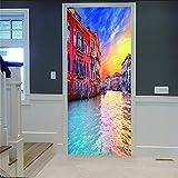 Zhoudd Pegatinas De Puerta 3D Colorido paisaje al atardecer de Venecia Etiqueta De La Puerta Papel Tapiz Murales Murales Pegatinas Carteles Pegatinas de Pared Decoraciones Papel Pintado Arte