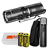 NITECORE MT10C 920 Lumen Multitask Tactical Flashlight with Red Light, 2x Rechargeable Batteries, Charger, and LumenTac Battery Organizer