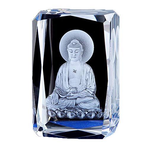 ZCQBCY Tathagata Buddha Statue Shakyamuni Figurine Western Three Holy Buddhas Sculpture Crystal Inner Carving Amitabha Avalokitesvara Decoration Ornament for Buddhist,A