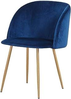ZONS YPOS - Silla macaron escandinava de terciopelo azul y patas de metal efecto madera, extragrande
