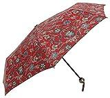 Parapluie Pliant imprimé Fleuri Rouge, Parapluie Pliable avec Ouverture Manuelle et Résistant au Vent,Compact et léger de 24 cm, Parapluie de Voyage pour Femme