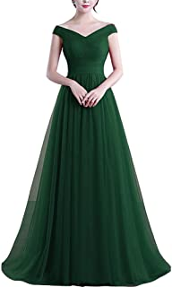 Off Shoulder Tulle Pleats Simple Long Prom Evening Dress Bridesmaid Gown