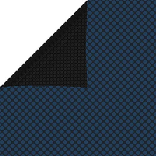 vidaXL Pool Solarplane Treibend Solarfolie Wärmeplane Solarabdeckung Poolabdeckung Poolheizung Abdeckplane Luftpolsterfolie PE 450x220cm Schwarz Blau