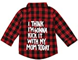 Kids Little Boys Girls Baby Letters Print Long Sleeve Button Down Red Plaid Flannel Shirt (2T, Red Kick it with mom)