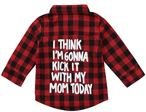 Flanellhemd für Kinder, kleine Jungen und Mädchen, mit Buchstaben-Druck, langärmelig, Button-Down, Rot kariert (A-plaid Hemd), 2-3 Jahre (90)
