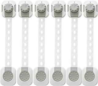 TONYBOO Baby Safety Locks, 6 PACK plus 6 Extra Adhesives, Improved Dual Action Lock Design, Reusable with Adjustable Length Strap for Cabinets, Drawers, Fridges, Closet, Doors, Windows, Ovens
