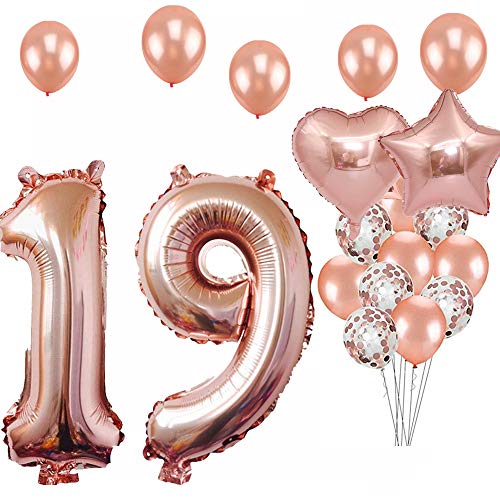 19th Birthday Decorations Party Supplies, Jumbo Rose Gold Foil Balloons for Birthday Party Supplies,Anniversary Events Decorations and Graduation Decorations Sweet 19 Party,19th Anniversary