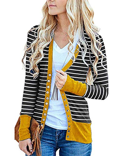 KAY SINN Mustard Striped Cardigans Sweaters for Women Outfits Open Front Button Lightweight Chunky Dusters Mustard Large