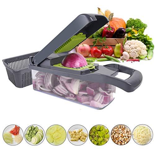 Yeelan 12-in-1 Gemüseschneider Gemüsehacker Lebensmittel-Chopper Zwiebelwürfel Kartoffelschneider Obstschneider Salatschredder mit Verstellbarer Klinge und Behälter Küchenmesser für Karotten, Gurken
