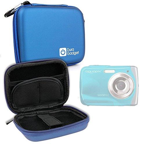 """Duragadget - Funda rígida para cámara de fotos digital Easypix Aquapix W1024-I Splash de 2,4"""", 10 Mpx, cierre de mosquetón extraíble, color azul"""