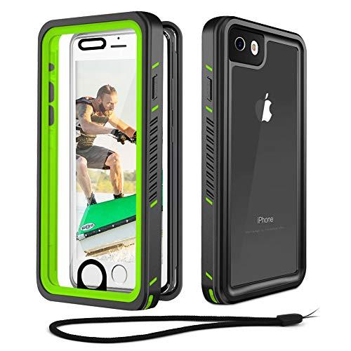 Beeasy Outdoor Hülle für iPhone SE 2020 8/7,IP68 Zertifiziert Wasserdichte Handyhülle,360 Grad Schutzhülle mit Kameraschutz Eingebautem Bildschirmschutz,Staubdicht Schneefest Stoßfest Hülle,Schwarz + Grün