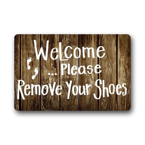 GDESFR - Felpudo Decorativo para Puerta con Mensaje Welcome Please Remove Your Shoes (23,6 x 15,7 cm)