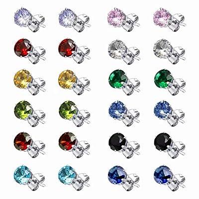 Cubic Zirconia Hypoallergenic Stud Earrings for Women Men Girls Statement Cartilage Surgical Steel Earrings set 12 Pairs