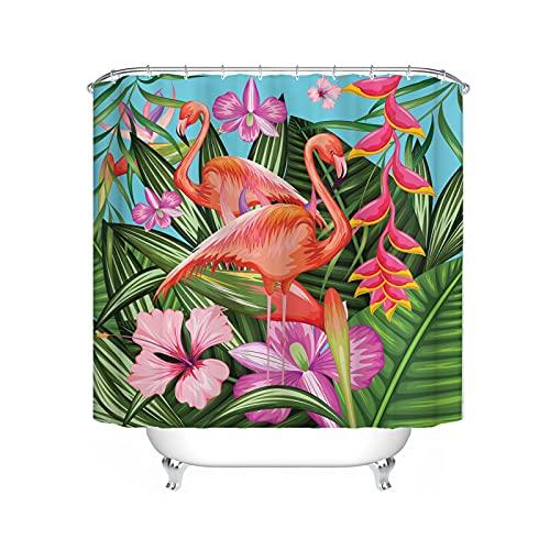 Fgolphd Flamingo Duschvorhänge Pink 180x200 Textil 120x200 Grüne180x180 200x240 Bunt Strand,100prozent Polyester,Shower Curtains Wasserdicht (24,180 x 200 cm)