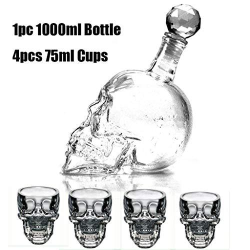Vasos De Cóctel Conjunto De 5 Coupe De Cristal La Cabeza Del Cráneo De Cristal De Whisky Vino 1000Ml Botella 75Ml Taza Transparente Con Vasos De Vidrio Copas Para Los Regalos,Clear