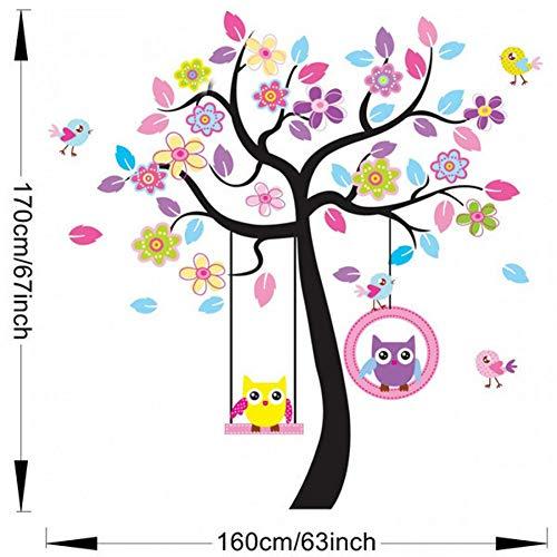 DAIZHJ Roze boom schommel uil kamer van huishoudelijke versiering muurstickers in de muur stickers op de muur