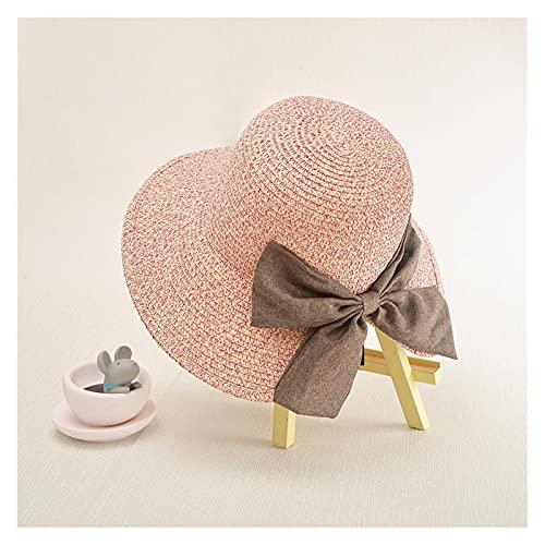 Sombreros De La Moda De Las Mujeres De Verano Solar CAP UV Playa Sun Visor Ancho Rolling Rolling Floppy Plate (Color : Pink)