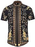 PIZOFF Men's Luxury Short Sleeve Floral Print Button Down Dress Shirt Y1782-09-XL