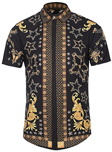 PIZOFF Men's Luxury Short Sleeve Floral Print Button Down Dress Shirt Y1782-09-XL