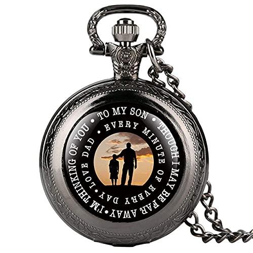 NHLBD Reloj de Bolsillo a mi Hijo Tema Reloj de Bolsillo de Cuarzo Vintage Reloj de la Vendimia Los Mejores Regalos de cumpleaños para niños con una Cadena de Collar de 80 cm