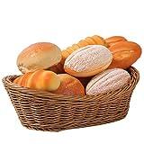Jevina Cestino ovale in vimini intrecciato per il pane da 11 pollici, cestino per alimenti, frutta, cosmetici, tavolo e bagno