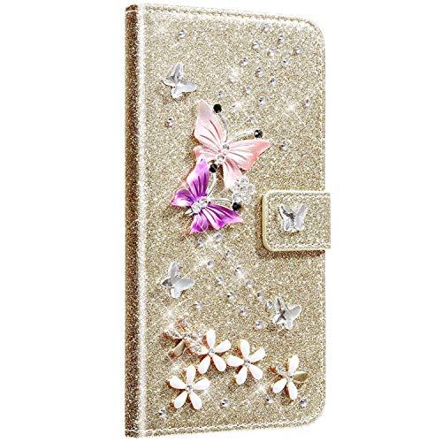 Saceebe kompatibel mit Huawei P10 lite Hülle Leder Wallet Flip Case Glitter Diamante Ledertasche mit Schmetterling Strass Glitter Lederhülle Handytasche Schutz Kratzfest Schutzhülle,Gold