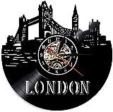 ZZLLL Reloj de Pared con Disco de Vinilo Creativo Skyline de Londres Reino Unido Paisaje Urbano de Londres Decoración de su hogar Este Reloj de Pared Regalo de Viajero