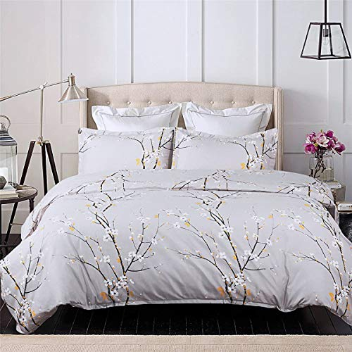 king Size Grey Plum Flower Printed Duvet Cover Set bedding Set 3 pcs Soft Microfiber Duvet Cover with 2 Pillowcases and Zipper Closure 220 x 230cm