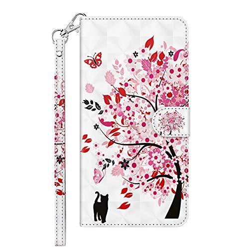 TYWZ Kompatibel mit Samsung Galaxy A71 Hülle,PU Leder Hülle Wallet Flip Case Cover Schutzhülle Handyhüllen Schale mit Ständer Kartenfach Magnetisch-Katze Blume