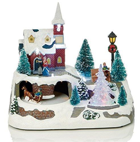 LED Navidad animados tradicional Village nieve escena con