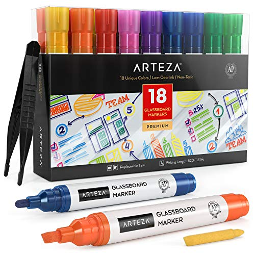 Arteza Dry Erase Markers for Glass Boards Pack of 18, 10 Classic and 8 Neon Colors with Low-Odor Ink, Erasable Window Markers, Office Supplies for Glass, Mirrors, Whiteboards and Non-Porous Surfaces
