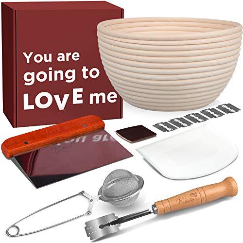 Gärkörbe für Brot, hoch, 2,5 cm hoch, Gärkörbe für Brotbacken + Liner + Brotlader + Teigschaber + Bankschaber + Mehlstaubwedel zum Backen Geschenke für Bäcker