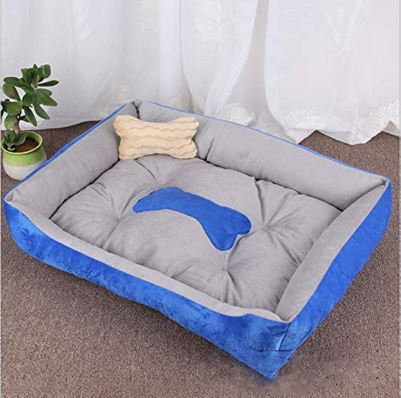 Pet Kennel cat Litter Insulation Four Seasons pet mat pet nest Bone pet Bed pet mat Dog cat Sofa pet mat (pet nest + Bone Pillow) (color   bluee, Size   S)