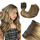 Halo Hair Extensions, Straight Hidden Wire Hair Extensions, Chocolate Brown with Honey Blonde Secret Hair Extension, Fish Line Flip in Human Hair Extensions, 12 inch, hotbanana