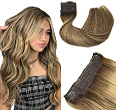 Halo Hair Extensions, Straight Hidden Wire Hair Extensions, Chocolate Brown with Honey Blonde Secret Hair Extension, Fish Line Flip in Human Hair Extensions, 16 inch, hotbanana