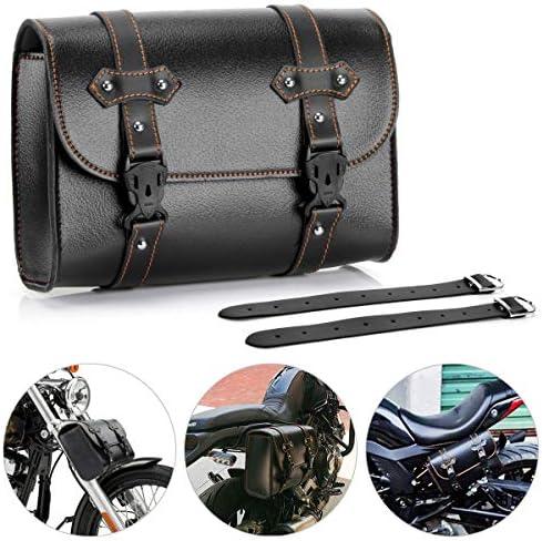 Motorcycle Tool Bag, Universal PU Leather Motorcycle Fork Bag Saddlebags Handlebar Bag Sissy Bar Storage Tool Bag for Honda Kawasaki Suzuki Yamaha Sportster (Black-1)