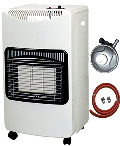 PROGEN NEW WHITE CALOR 4.2kw PORTABLE HEATER FREE STANDING HEATING CABINET BUTANE GAS HEATER WITH FREE 1M HOSE AND REGULATOR